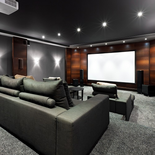 Interior of luxury home theater