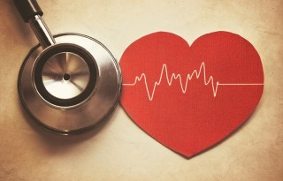 heart and stethoscope in vintage style