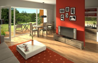 rendering of a modern living room with open kitchen