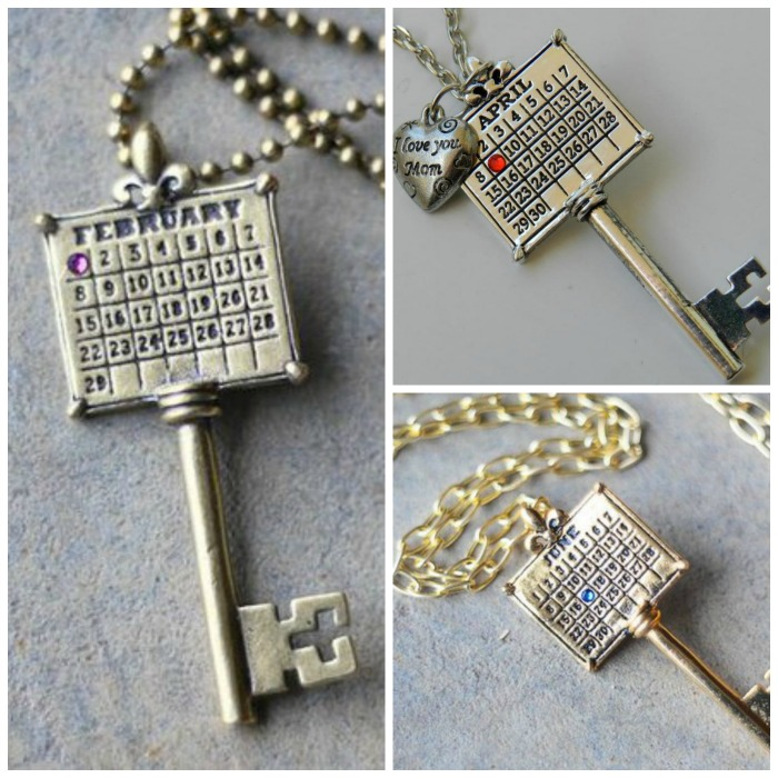 Not Just Any Old Day Calendar Key Necklace Collage