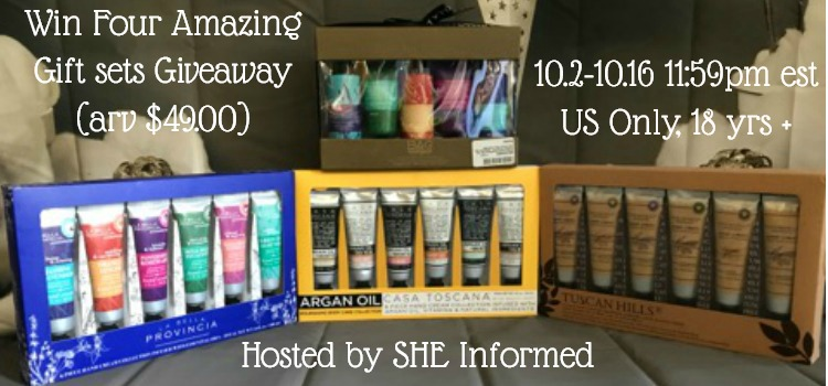 Win Four Amazing Gift sets Giveaway (arv $49.00)